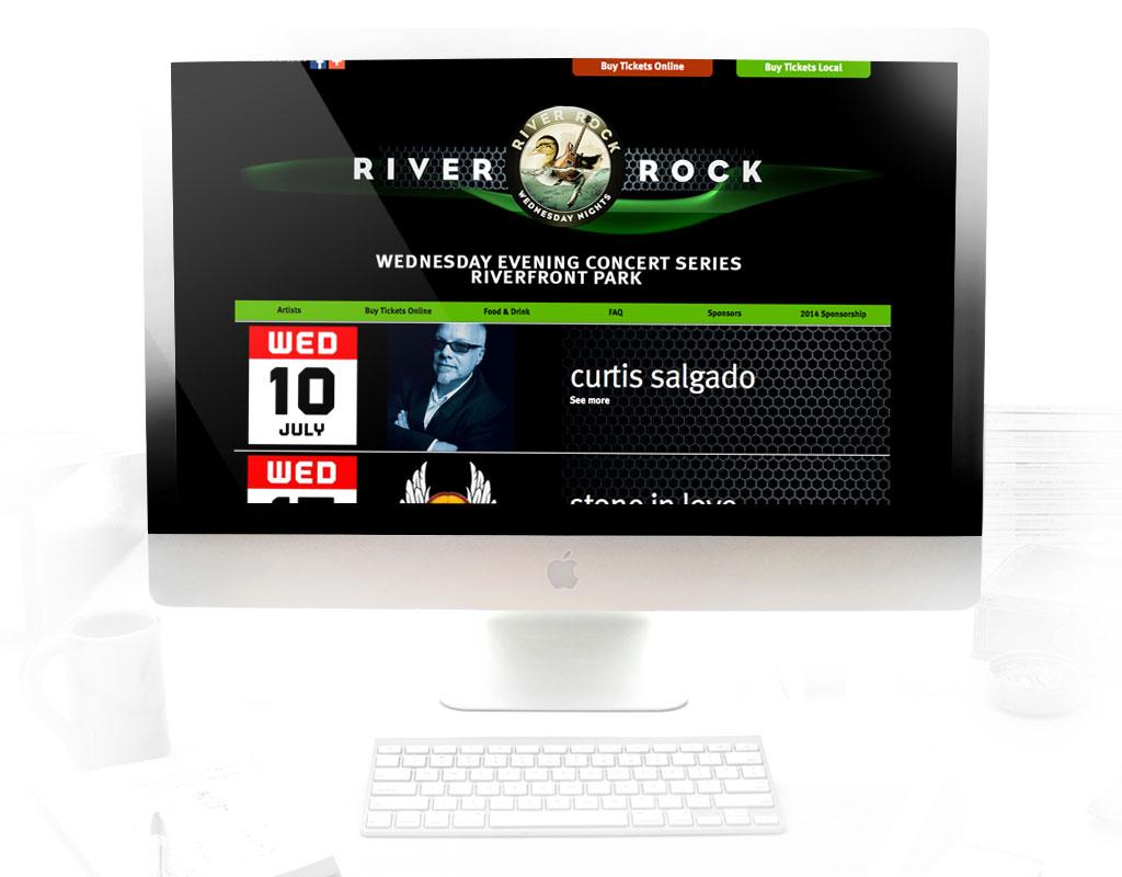 logo, branding, website design for river rock