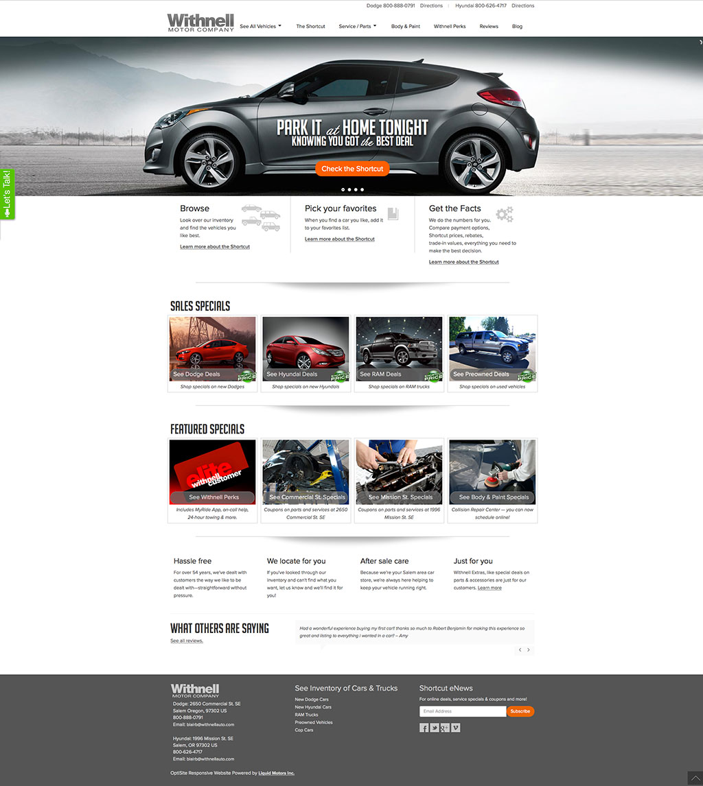 website design salem oregon - withnell motor company