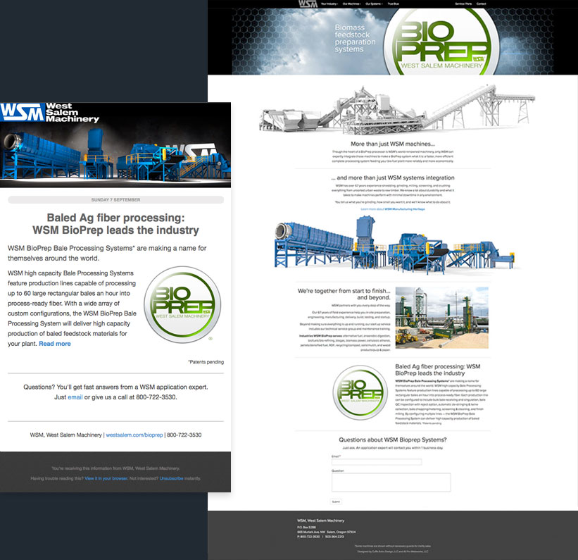 email marketing landing pages - west salem machinery